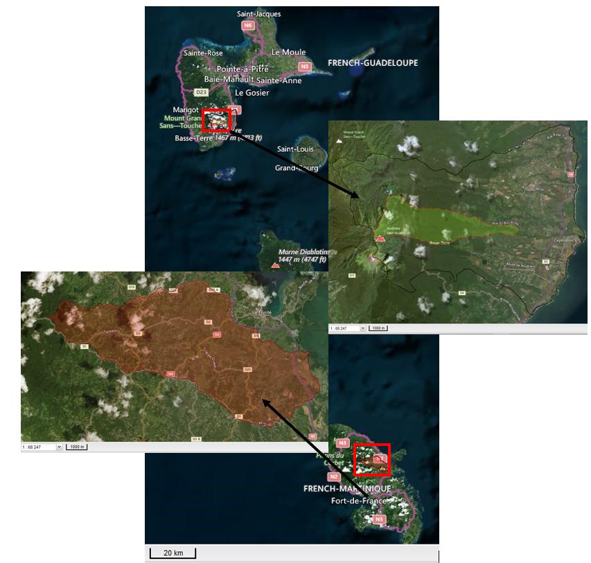 Localisation des sites en Martinique et Guadeloupe d'OPALE
