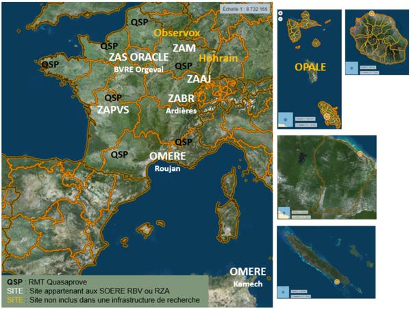 Localisation des sites Recotox