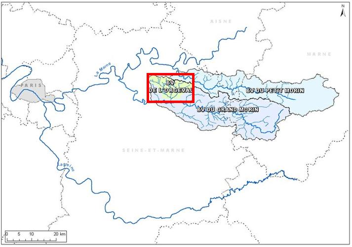Localisation du bassin versant de l'Orgeval au sein de l'observatoire ORACLE