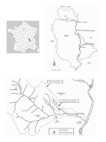 Localisation du site Ardières-Morcille de la Zone Atelier Bassin du Rhône  (source : https://saam.irstea.fr/)