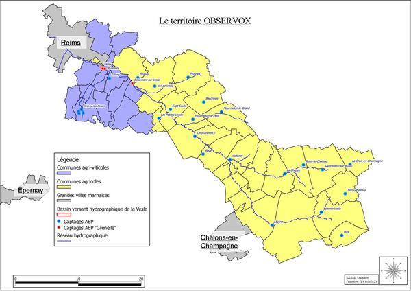 Localisation des sites Observox (source : http://observox.univ-reims.fr/Pratiques/)