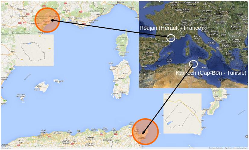 Localisation des sites Roujan et Kamech de l'Observatoire Méditerranéen de l'Environnement Rural et de l'Eau. (source : http://www.obs-omere.org/)