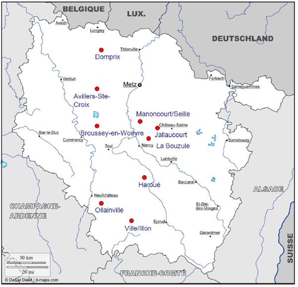 """Localisation des sites de la Zone Atelier Moselle (source : Thèse """"Efficacité de zones tampons humides à réduire les teneurs en pesticides des eaux de drainage » de Romain Vallée)"""