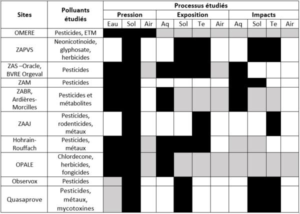 Processus et polluants étudiés